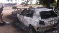 Burned car bomb explosion