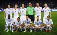 U.S. soccer team pose before their Confederations Cup soccer match against Italy in Pretoria