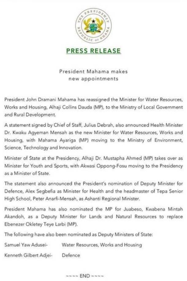 Mahama reshuffle