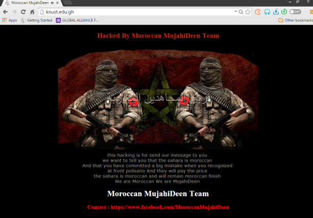 What hackers defaced website with